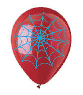 "12"" Red and Blue Spider Webs Latex Balloons (50 Per Bag)"