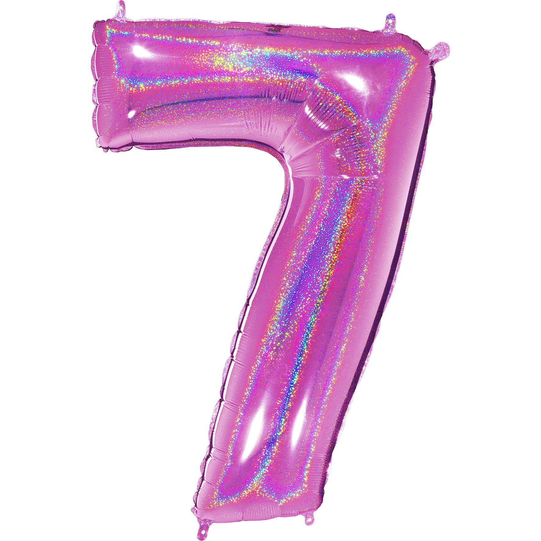 "40"" Number ""7"" Fucshia Glitter Holographic Balloons"