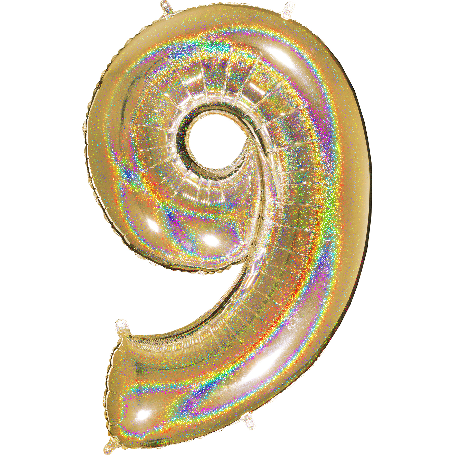 "40"" Number ""9"" Gold Glitter Holographic Balloons"