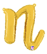 "14"" Air Filled Only Script Letter ""N"" Gold Foil Balloon"