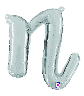 "14"" Air Filled Only Script Letter ""N"" Silver Foil Balloon"