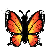 "46"" Holographic Radiant Butterfly-Orange Foil Balloon"