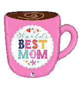 "28"" Foil Best Mom Mug Foil Balloon"