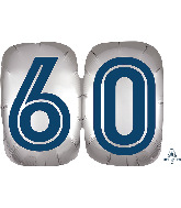 "25"" SuperShape™ Silve/Blue Number 60 Foil Balloon"
