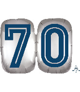 "25"" SuperShape™ Silve/Blue Number 70 Foil Balloon"