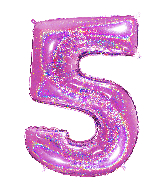 "40"" Number ""5"" Fucshia Glitter Holographic Balloons"
