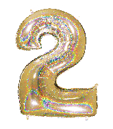 "40"" Number ""2"" Gold Glitter Holographic Balloons"