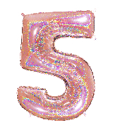 "40"" Number ""5"" Rose Gold Glitter Holographic Balloons"