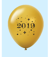 "11"" Year 2019 Stars Latex Balloons Gold (25 Per Bag)"