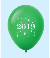 "11"" Year 2019 Stars Latex Balloons Green (25 Per Bag)"