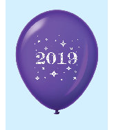 "11"" Year 2019 Stars Latex Balloons Purple (25 Per Bag)"