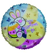 "18"" Have an Eggcellent Easter Rabbit & Egg Pastel Colors"