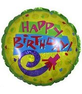 "9"" Airfill Happy Birthday Horn Green/yellow Holo Balloon"