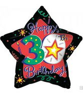 "18"" Happy 30th Birthday Black and Red Star"