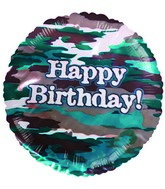 "9""  Airfill Happy Birthday Camouflage Balloon"
