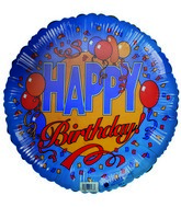 18&#39&#39 Happy Birthday balloons & streamers blue border balloon