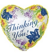 "18"" Yellow Thinking of You Floral Heart"