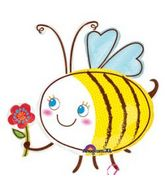 "36"" Bee with Flower Mylar Balloon"