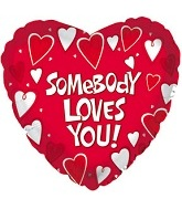"17"" Somebody Loves You Mylar Balloon Packaged"