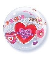 "22"" Happy Valentine&#39s Day Bubble Balloon"