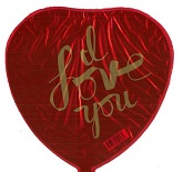 "9"" I Love You in Gold Script Heart"