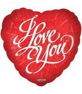 "9"" Airfill I Love You Script Red Balloon"