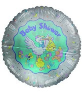 "36"" Baby Shower Stork & Baby Toys Jumbo White Balloon"