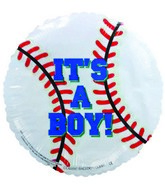 "4"" Airfill It&#39s a Boy Blue Baseball Balloon"