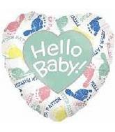 "26"" Jumbo Hello Baby! FootPrints Heart Shaped Balloon"