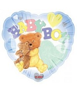 "18"" Baby Boy Bear & Quilt Heart Mylar Balloon"