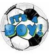"4"" Airfill Its  a Boy Soccer Ball  Balloon"