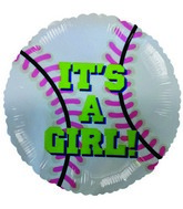 "9""  Airfill It&#39s a Girl Baseball Balloon"
