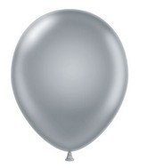 "24"" Round Silver Latex Balloons 5 Count"