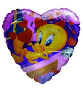 "36"" Tweety Love Hearts & Music Notes pink heart balloon"