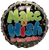 "18"" Birthday Make a Wish Black"