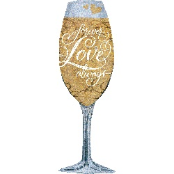 "38"" Holographic Forever Love Champagne Balloon"