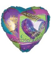"9"" Airfill Anniversary Holographic Heart"