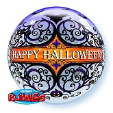 "22"" Halloween Scroll & Bats Bubble Balloon"
