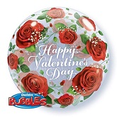 "22"" Valentine&#39s Red Roses Bubble Balloon Single Bubble"