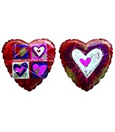 "25"" HVD Painted Hearts Red Heart Shaped Balloon"