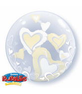 "24"" White & Ivory Floating Hearts Double Bubble Balloons"