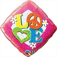 "18"" Love Peace Sign Packaged Mylar Balloon"