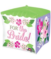 "15"" For the Bride Floral Design Cube Shaped Balloon"