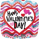 "18"" Happy Valentines Day Squiggles Balloon Packaged"