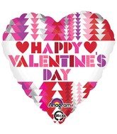 "18"" Happy Valentines Day Triangle Pattern Balloon"