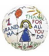"4"" Airfill #1 Grandma Thanks/ Kids Balloon"