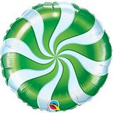 "18"" Round Candy Swirl Green Balloons"