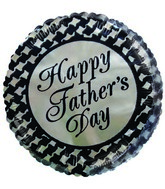 "2"" Airfill Happy Father&#39s Day Gold Black Checkers Balloon"
