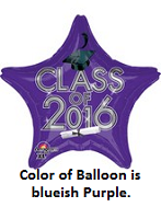 "18"" Class of 2016 - Purple/Navy Balloon"