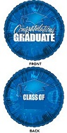"18"" Class of (no stickers included) Blue Balloons"